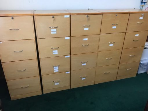 Maple Wood Four Drawer File Cabinets